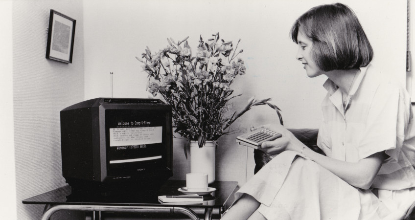 Early Electronic eCommerce Home Shopping Scene (photograph)